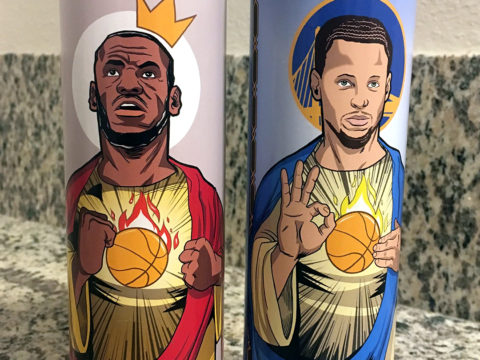 We got gifts! Steph and Lebron candles, courtesy of Dave Dwonch w/ OutOfMyMindCo