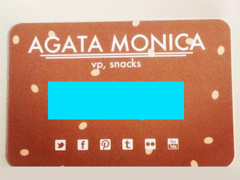 Agata's VP of Snacks business card