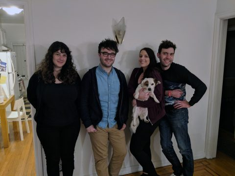 Anastasia, Andy, Agata, Adam & Louie the dog