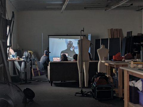 Watching the film in Natalia's studio